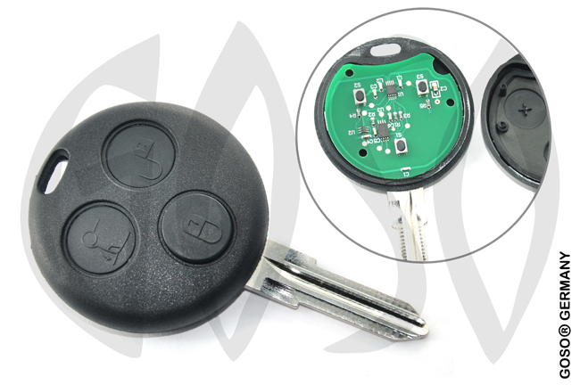 Benz SMART  3 button remote key with 433MHz 6086